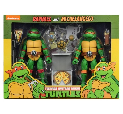 Michelangelo and Raphael Action Figure 2 Pack TMNT Cartoon Version (S2)