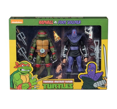 Raphael vs Foot Soldier Action Figure 2 Pack TMNT Cartoon Version